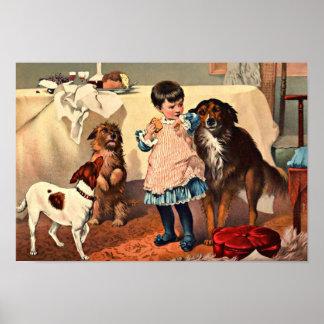 Pet Dogs Begging for Cake Vintage Print