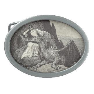 Pet Dragon and Maiden Belt Buckle