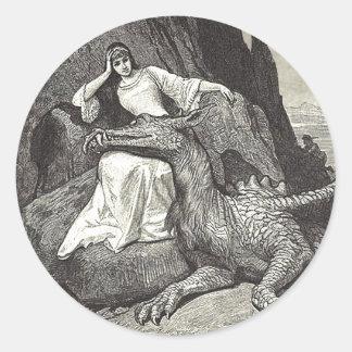 Pet Dragon and Maiden Classic Round Sticker