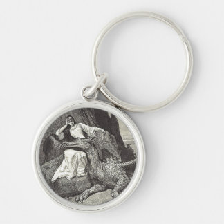 Pet Dragon and Maiden Silver-Colored Round Keychain