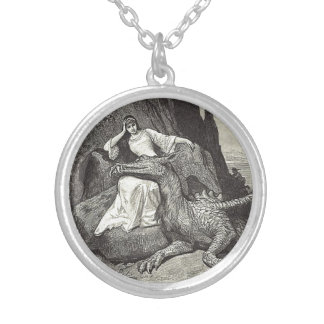 Pet Dragon and Maiden Silver Plated Necklace