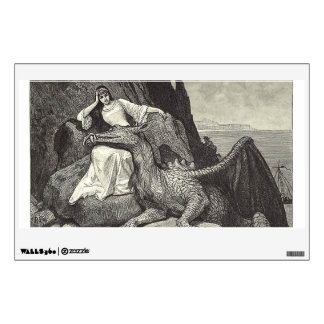 Pet Dragon and Maiden Wall Decal