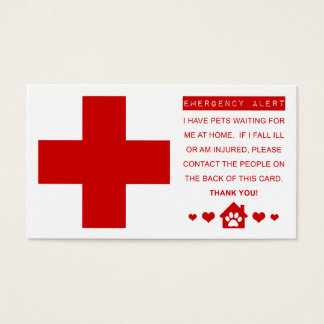 pet emergency alert business card