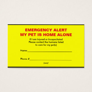 Pet Emergency Alert Home Alone Cards