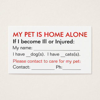 Pet emergency contact info wallet cards dog cat