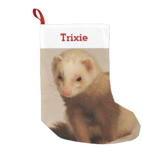 Pet Ferret Lover Photo and Name Personalized Small Christmas Stocking