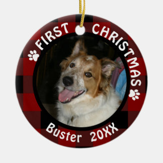 "Pet ""First Christmas"" 2-Sided 2-Photo Red & Black Ceramic Ornament"