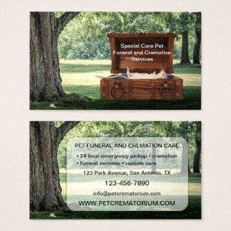 Pet Funeral and Cremation Services Business Card
