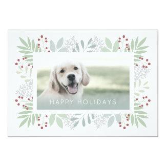 Pet Greeting Card | Green Leaves Photo Card - Flat