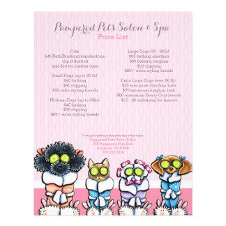 Pet Groomer Spa Dogs Cat Robes Pink Price Sheet