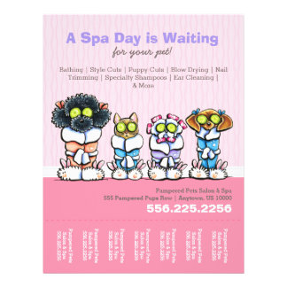 Pet Groomer Spa Dogs Cat Robes Pink Tear Sheet Flyer
