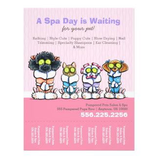 Pet Groomer Spa Dogs Cat Robes Pink Tear Sheet Flyer
