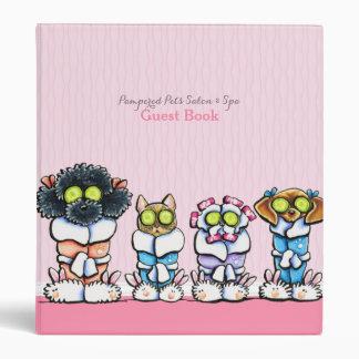 Pet Groomer Spa Guest Book Dogs Cat Robes Pink Vinyl Binder