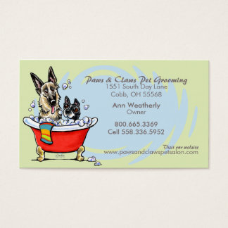 Pet Groomer Spa Wet Dogs Green Tea Appointment Business Card