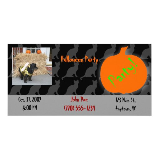 Pet Halloween Party Invitation Photo Card