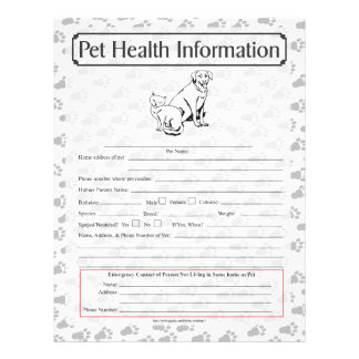 Pet Health Information Sheet page 1