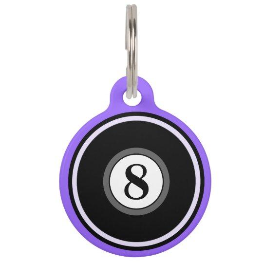 Pet ID Tag - 8 Ball - Light Purple & Black