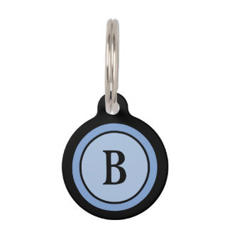 Pet ID Tag -Black & Blue Monogram