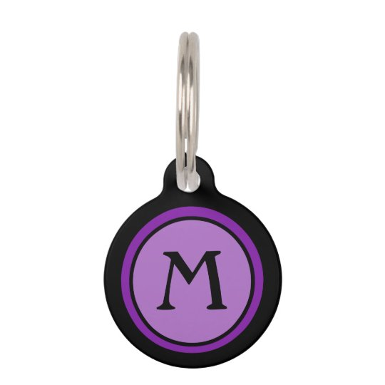 Pet ID Tag - Black & Purple Monogram