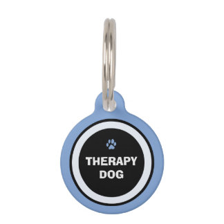 Pet ID Tag - Blue & Black- Therapy Dog