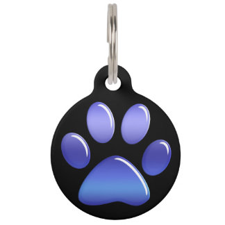 Pet ID Tag - Candy Blues Paw Print