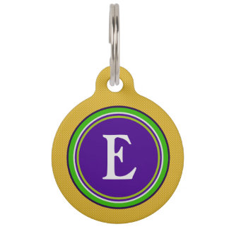 Pet ID Tag - Gold Green & Purple with Monogram
