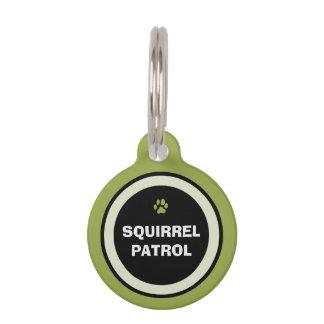 Pet ID Tag - Green & Black - Squirrel Patrol