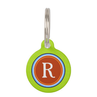 Pet ID Tag - Green Blue & Red with Monogram
