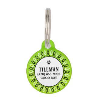 Pet ID Tag - Lime Green Bandana Design