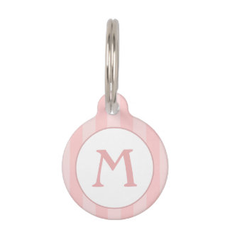 Pet ID Tag - Pink Stripes with Monogram