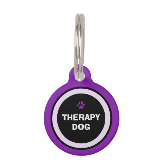 Pet ID Tag - Purple & Black- Therapy Dog