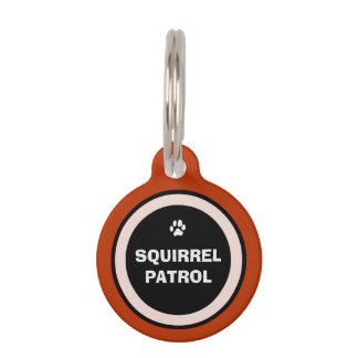 Pet ID Tag - Red Black & White - Squirrel Patrol