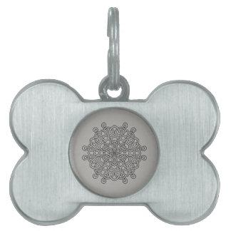 Pet label with mandala art pet tag
