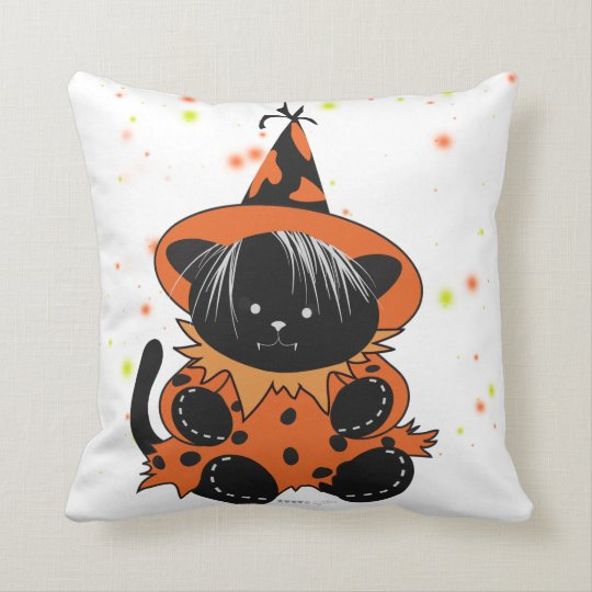 PET LITTLE WITCH 2 HALLOWEEN  Throw Pillow 16 X 16
