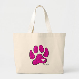 Pet Lover Carrying Tote Bag / Pink Pawprint