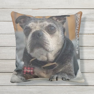 Pet Lovers Hashtag with Two Photos Outdoor Pillow