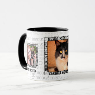 Pet Memorial 3-Photo Loss of a Cat Meow Word Art Mug