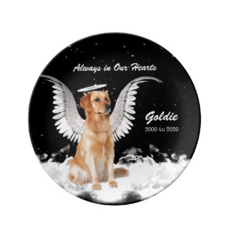 Pet Memorial Angel Dog - Golden Retriever Custom Plate