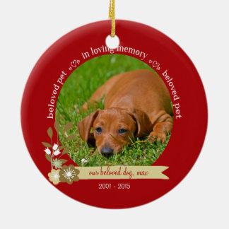 Pet Memorial at Christmas custom photo name Round Ceramic Ornament