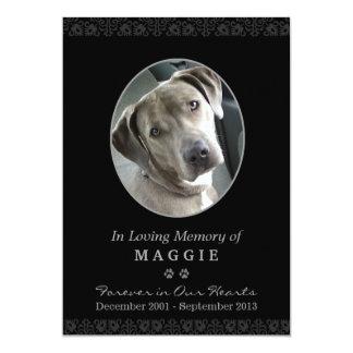 "Pet Memorial Card 5""x7"" Black Oval Photo Frame"