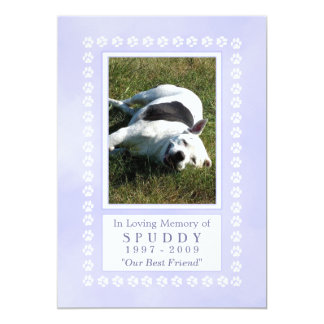 Pet Memorial Card 5x7 - Heavenly Blue Pawprints