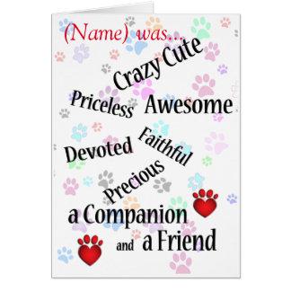 Pet Memorial Crazy Cute Sympathy Card