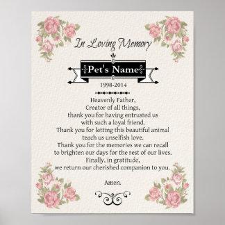 Pet Memorial Dog Prayer Poster