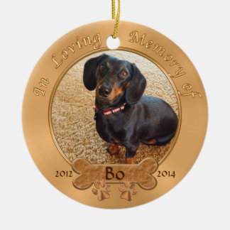Pet Memorial Gifts Personalized 2 PHOTOS, 3 TEXT Round Ceramic Ornament