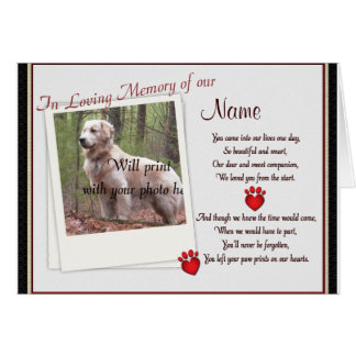 Pet Memorial Paw Prints  Announcement - Dog Cat Greeting Card