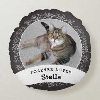 Pet Memorial Personalized Chalkboard Add Photo Round Pillow