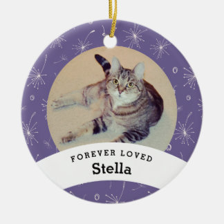 Pet Memorial Personalized Purple Add Your Photo Ceramic Ornament