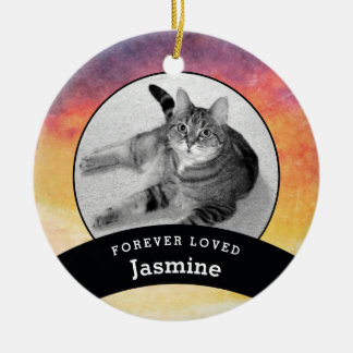 Pet Memorial Personalized Watercolor Add Photo Ceramic Ornament