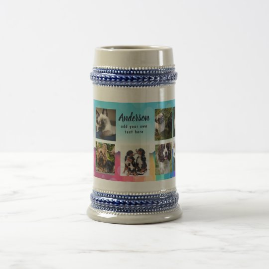 Pet Memorial PHOTO COLLAGE Gift - ADD TEXT Beer Stein