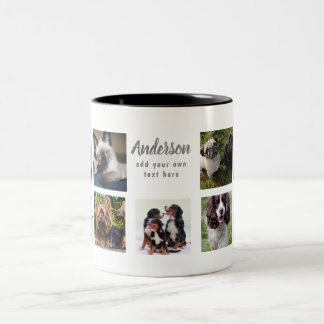 Pet Memorial PHOTO COLLAGE Gift - ADD TEXT Two-Tone Coffee Mug